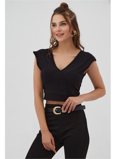 Pattaya Pattaya Kadın Fitilli V Yaka Crop Bluz P21S201-2174 Renkli
